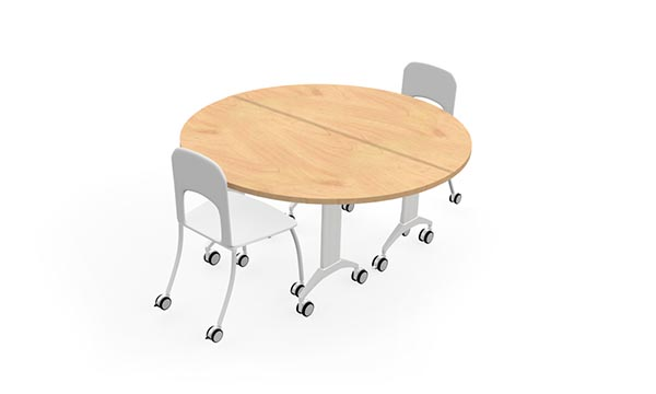 LINK Table configuration with two half round tables
