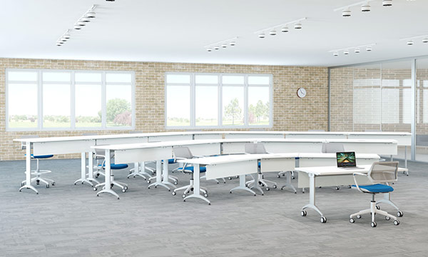SpecialT LINK Table in auditorium enviroment in white laminate color