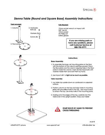 Sienna Table Assembly Instructions