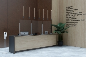 Reception Desk with Free-Standing SafeⓉ Screens