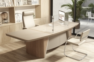 Executive Office Desk with Executive Folding SafeⓉ Screen - Top View