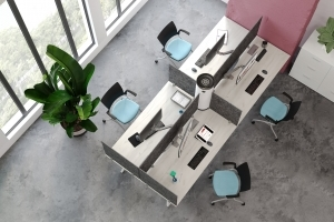 Aim EZ Desking with Air Purifier - Top View