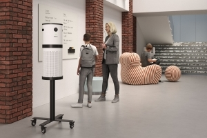 Air Purification System on Mobile Sienna Stand in Student Center