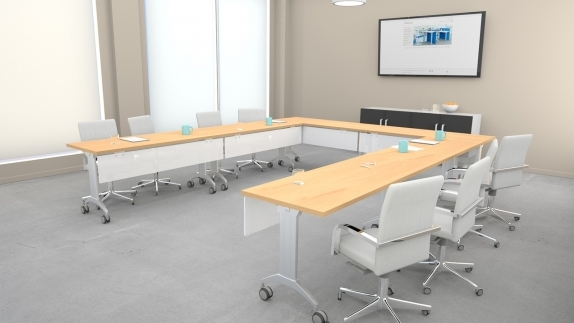 LINK Table with acrylite modesty panel for conference rooms