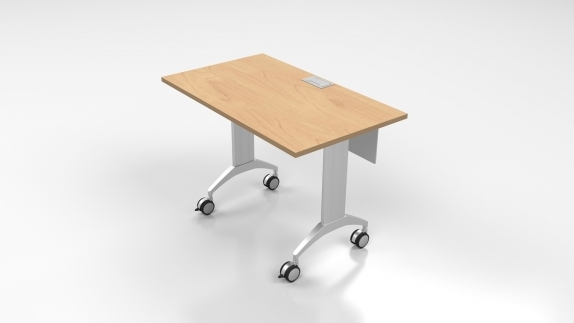 LINK Table with offcet modesty panel and grommet on kensington color laminate top