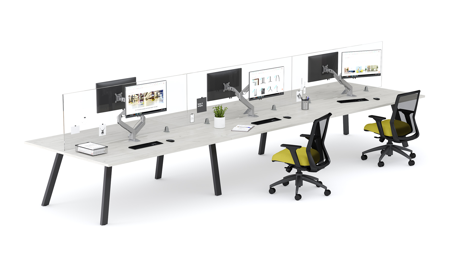 Aim EZ Desking with Plexiglass Screens